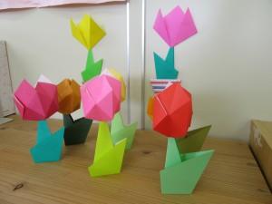 3月のおりがみ教室で作ったチューリップ。